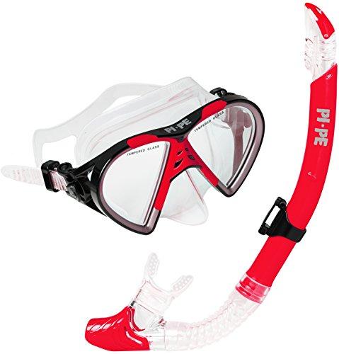 PI-PE Taucherbrille & Schnorchel Set Active Red