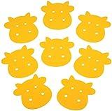 8 Stück Filz Tassen Untersetzer oder Tassen Unterlage, Kuh-Motiv, 10x10cm, 3mm Stärke | Acht einfarbige, süße Kühe perfekt als Deko Tischset für Tassen und Gläser aller Größe! (Farbe: schönes Gelb, Rapsgelb)