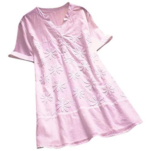 CAOQAO Damen Lässig Plus Größe Vertikal Streifen Lose Leinen Knopf Tunika Hemd Bluse (Ideen Für Halloween Kostüme Für Familie 5)