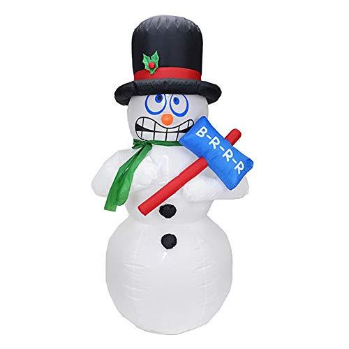 RENS Weihnachtsschneemann Aufblasbares Modell, Süßes Beleuchtetes Modell Selbstaufblasend, 5.9Ft Outdoor-Gartenspielzeug Für Weihnachtsfestdekorationen Neujahr