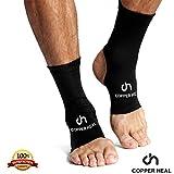 KNÖCHEL Kompressionshülse von COPPER HEAL (PAAR) - Höchste Kupfer infundiert Socken Fuß Fuß Schwellung Achillessehne Gelenkschmerzen Plantar Fasciitis Sportverletzung (M)
