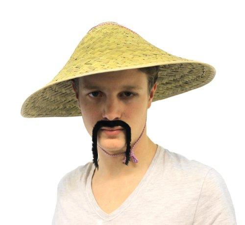 Ilovefancydress Chinesischer Orientalischer Coolie Hat und chinesischer Schnurrbart Kostüm-Set Asiatischer Strohhut (Chinese Mandarin Kostüm)