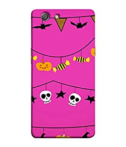 PrintVisa Designer Back Case Cover for Oppo Neo 5 :: Oppo A31 :: Oppo Neo 5S 2015 (Skulls Hats And Toffees Hanging From Rope)