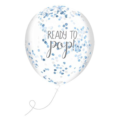 Club Green J025BL Ready To Pop Blue Confetti Filled Balloons  5 pack