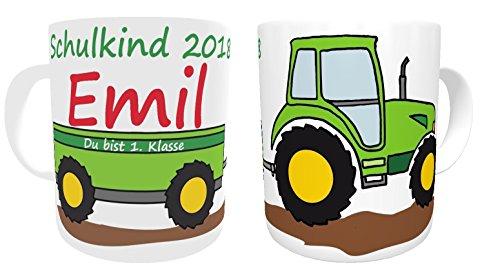 Tasse Schulkind 2018 Traktor Trecker zur Einschulung
