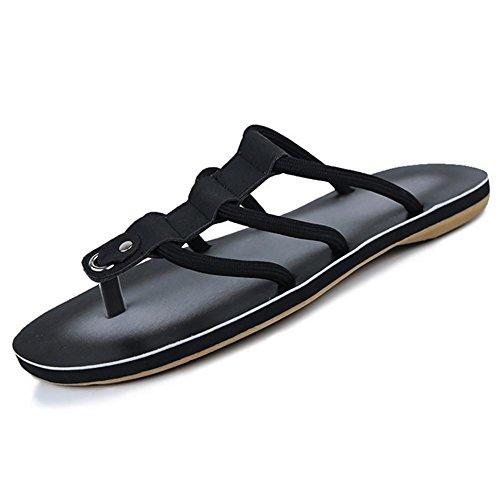 SHANGXIAN Marche de pantoufles & nu-pieds confort chaussures Casual talon noir mat jaune hommes Black
