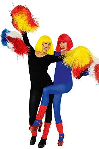 Cheerleader Pom Pom in schwarz/rot/gelb für Cheerleader Kostüm Zubehör (Schwarz/Rot/Gelb)