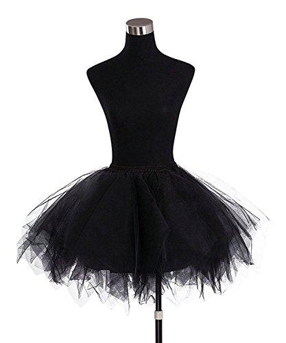 Broybuy Damen Kurz Retro Petticoat Rock Ballett Blase 50er Tutu Ball Kleid Mehrfarbengroß Unterröcke Schwarz -