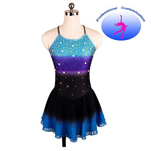 Vestido De Patinaje Artístico Vestido De Patinaje Sobre Hielo Hecho A Mano Chicas Mujer Rhinestone Fancy Backless Gradient Competition Wear,Blue+Purple+Black-S(chest65cm)