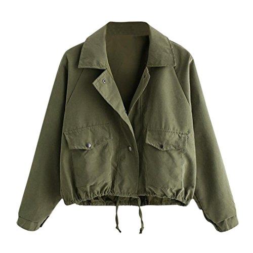 MCYs Damen Mode Langarm kurze Knopf Mantel Pocket Jacke Strickjacke Skin Suits mit Kapuze Reißverschluss Taschen Sport Mantel Bluse Jacke Frühlingsjacke (L, Grün)