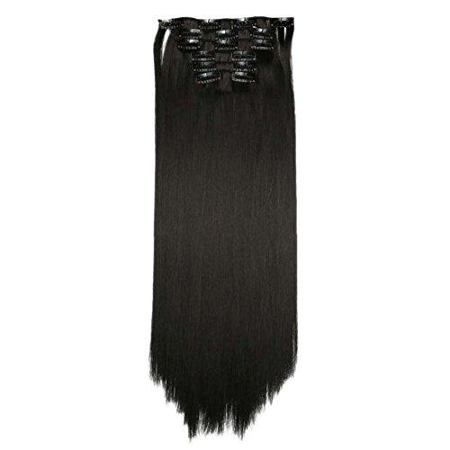 Echthaar Clip in Extensions Günstig Haarverlängerung Clips Haarteile Echthaar Remy Human Hair 24 Zoll 120g