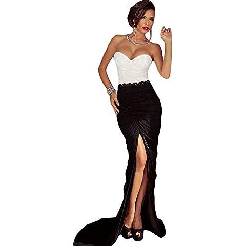 Elegante mujer vestido largo de blanco y negro Sexy Noche Cóctel Prom partido danza Club Wear tamaño 10–12