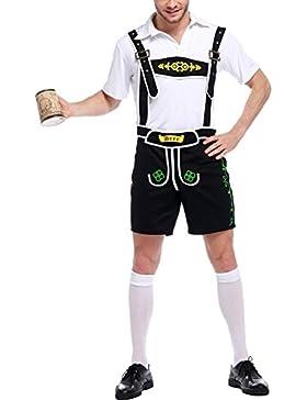LAEMILIA Herren Trachten Shirt und Hose Set Kurze Trachtenhose Anzug Overall Trachten Oktoberfest Träger und Trachtenhemd...