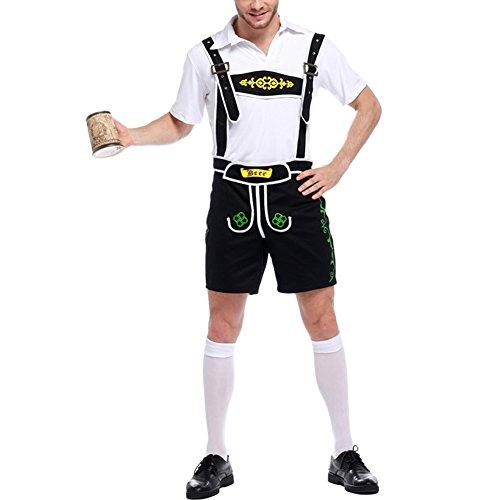 LAEMILIA Herren Trachten Shirt und Hose Set Kurze Trachtenhose Anzug Overall Trachten Oktoberfest Träger und Trachtenhemd Kostüm