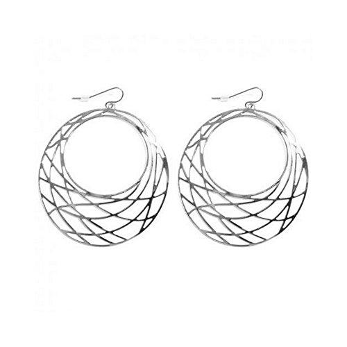Boucles d oreilles Crochets Cercles filigranes 55mm Métal Argenté