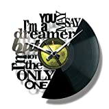 Disc'O'Clock Wanduhr aus Vinyl LP 33 Leise Imagine - Geschenkidee für Fan von John Lennon & Beatles