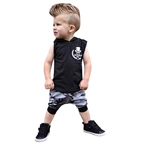 JUTOO 2 Stücke Set Kleinkind Kinder Baby Boy Outfits Brief Drucken Mit Kapuze Weste Tops + Camouflage Pants Set (Schwarz,70)