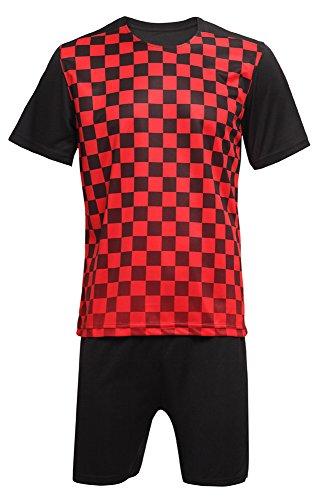 n Fußball Kleidung Sportbekleidung Rundhals Oberteile und Shorts Set Sport Training Wettbewerb Kostüm, Rot/3XL (Herren Fußball Kostüme)
