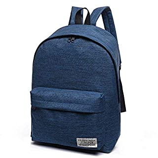 Awhao Solid Color Canvas Backpack for Travel, Korean Style School Bag for Man Woman