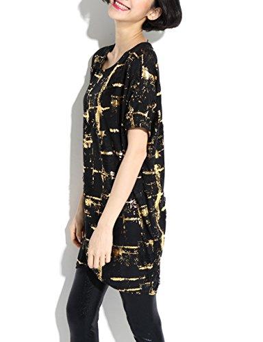 ELLAZHU Femme Casual Shirt Robe Transparent En Détresse Imprimé Taille Unique SZ148 Or