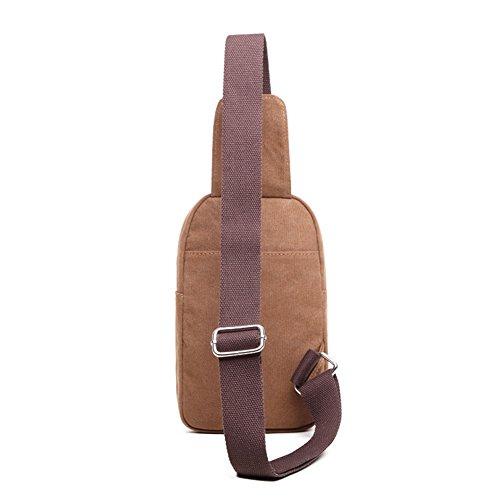 Butterme Sacchetto casuale del sacchetto di spalla di viaggio del sacchetto di spalla degli uomini dello zaino dello zaino casuale della tela di canapa casuale Caffè