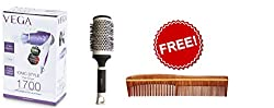 Vega VHDH -11 Iconic Style Hair Dryer + Hot Curl Brush - Large ( H1-PRL) + Free Delight Rose Wood Comb