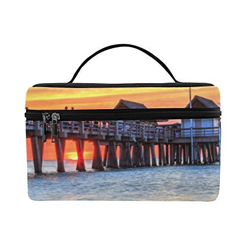 Florida Us Beach Ocean Landschaft Große Kapazität Größe Dame Cosmetic Bag Organizer Lunchbox Zug Kulturbeutel Für Mädchen Teen Frauen Reisen Mit Durchsichtigen Reißverschluss Und Einzelschicht -