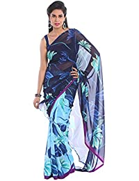 1 Stop Fashion Women's Blue Color Georgette Saree With Digital Prints & Blouse
