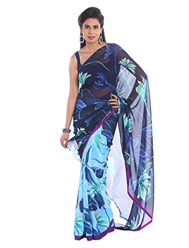 1 Stop Fashion Women\'s Blue Color Georgette Saree With Digital Prints & Blouse