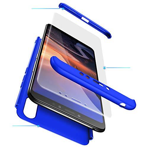Funda XiaoMi Mi Max 3 Carcasa XiaoMi Mi Max 3 con[Protector de Pantalla de Vidrio Templado]3 en 1 Desmontable Anti-Arañazos XiaoMi Mi Max 3 Funda Protectora-360 °complete package protection-Azul