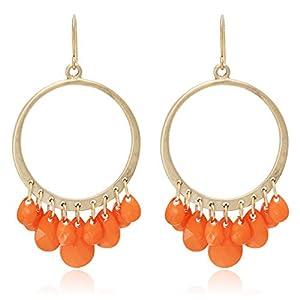 BONALUNA Frauen Boho Multi Perlen Quaste mit Kreis-Band baumeln Ohrringe für Frauen