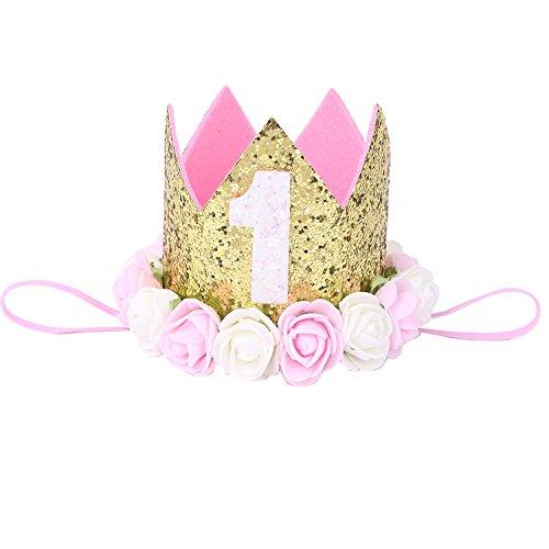 iEFiEL 1 jahr Geburtstag Baby Mädchen Haarschmuck Stirnband Baby Krone 1 jahr Babyschmuck Prinzessin Haarband Gold 1 jahr mit Blumen One Size