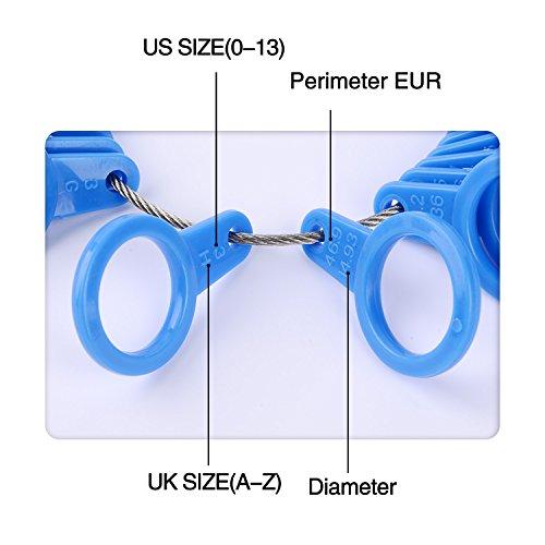 Shappy 27 Stück Kunststoff Ringgröße Messgeräte A-Z Finger Sizer Messung Ring Schmuck Werkzeugsatz (Blau) - 2