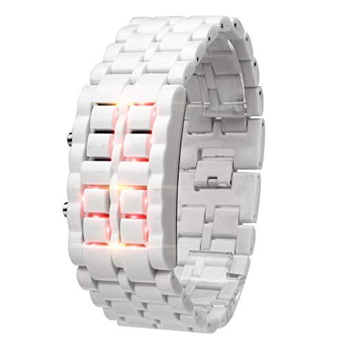 DEESEE(TM) New Iron Samurai Metal Bracelet LAVA Watch LED Digital Watch Hour Men Women, Light, D, For iPhone XS Max