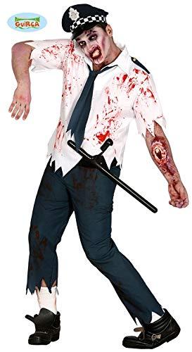 Zombie Polizist Halloween Horror Party Kostüm Cop Blut für Herren Gr. M-L, - Zombie Cop Kostüm