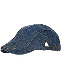 WETOO Denim Coppola Beret Cappello Berretto da Uomo Vintage Cabbie  Adjustable Newsboy cap f06996d79da6