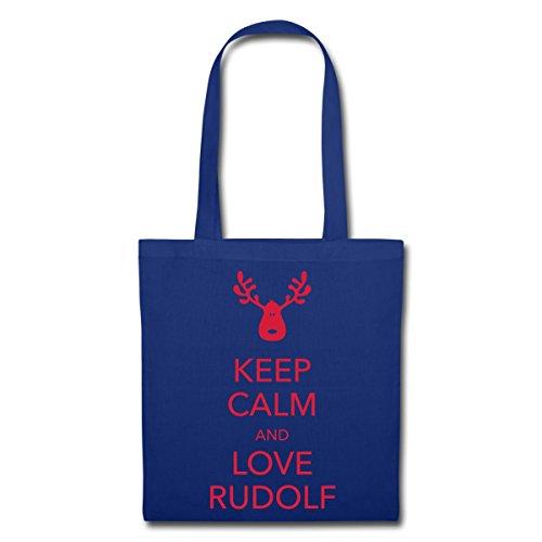 Spreadshirt Keep Calm Love Rudolf Rentier Stoffbeutel Royalblau