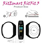 RitEmart RitFit 3 Smart Fitness Band Activity Tracker for Men/Women Sports Bracelet Sweatproof WristBand Sensor of Heart Rate Blood Pressure Monitor Bluetooth Health Watch for Boy/Girl OLED Touch Color Screen