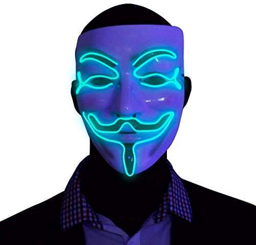 Green V for Vendetta EL Wire LED Mask , Guy Fawkes Anonymous Mask, glow in the dark light up halloween mask