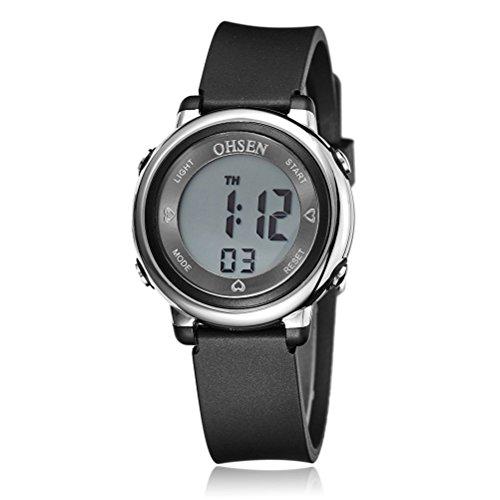PIXNOR Chicas de múltiples funciones resistente al agua luz de fondo pantalla cuarzo reloj deportivo OHSEN niños mujeres (negro)