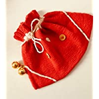 Petit Sac de Noël pour enfant en laine tricoté à la main sac pochon rouge et blanc Made in France Idée cadeau pour Noël HeyLaineInFrance,
