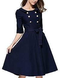 Womdee Damen 3/4 Ärmel Vintage Abendkleid Elegant Cocktailkleid 1950er Jahre Party Kleid(Navy Blau)