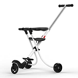 YOYO Slipped Child Artifact Children Tricycle Cart Lightweight Folding Old Baby Doll Baby Car Child Artifact Darkblue Lightblue Champagnegold Black White Pink,White