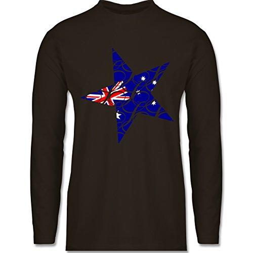 Shirtracer Länder - Australien Stern - Herren Langarmshirt Braun