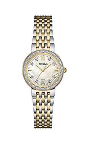 Bulova Ladies Women's Designer Diamond Watch Bracelet - Two Tone Steel Gold Mother Of Pearl Wrist Watch