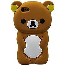 Oso de peluche para iPhone iPhone 5, 5s, 5c 3D de caucho de silicona forma animal Cartoon Ariana grande cubierta de estilo (marrón).