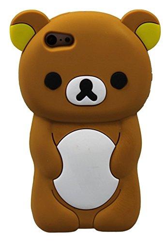 Teddy Bear Étui pour iPhone iPhone 5, 5s, 5c forme 3D en caoutchouc silicone Cartoon Animal Ariana Grande Cache-Style (marron) Brown