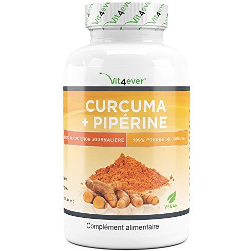 curcuma + pipérine - 360 gélules - végétaliennes - 3000mg par portion quotidienne - 100% poudre de curcuma et extrait de poivre noir - Haute disponibilité - Vit4ever
