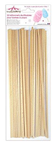 Scrapcooking 5187 Set de 25 Bâtonnets pour Barbes à Papa Bois de hêtre Beige 34 x 11 x 1 cm