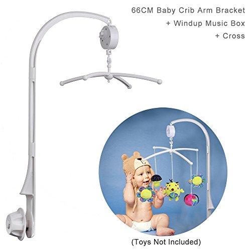 66 cm de haut pour berceau de lit de bébé avec support de bras pour jouets, écrous à vis, avec croix et boîte à musique Windup (Tune : Brahms Lullaby)